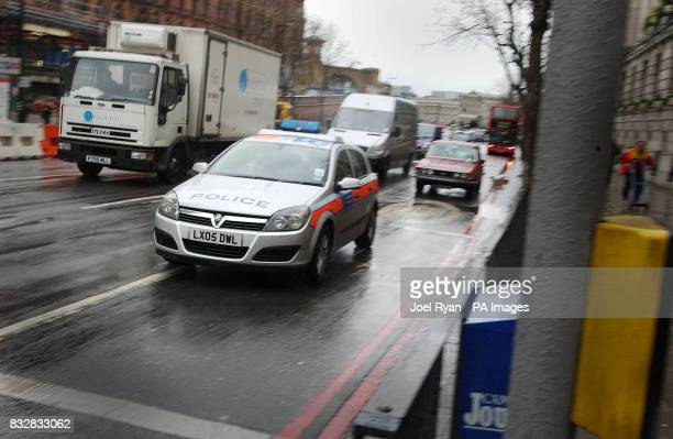 A police car in traffic on Euston Road in north London