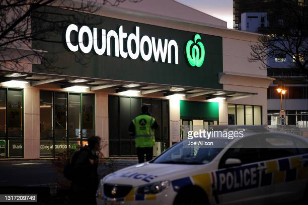 Police car is observed blocking an entrance to the Dunedin Central Countdown on May 10, 2021 in Dunedin, New Zealand. Four people have been injured -...