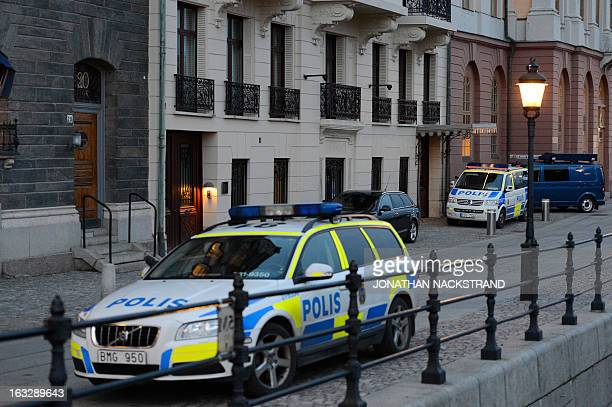 Police car is parked in front of the Swedish Prime Minister Fredrik Reinfeldt´s residence Sagerska Palace on November 9 2012 in Stockholm A bodyguard...