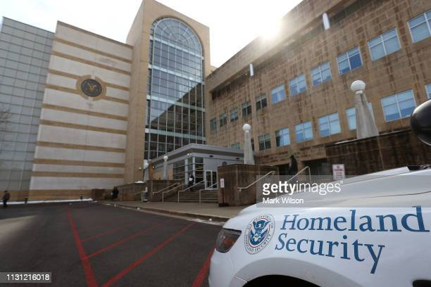 Police car is parked in front of the United States District Court Greenbelt Division on February 21 2019 in Greenbelt Maryland A member of the US...