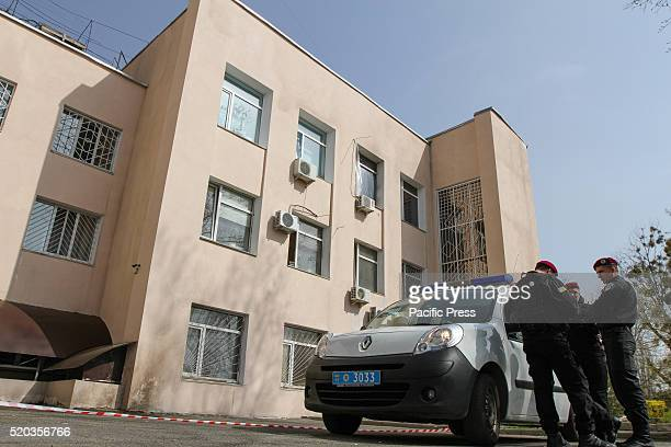 A police car is seen in front of the building of Holosiivskyi District Court Unidentified persons threw Molotov cocktails through the window of the...