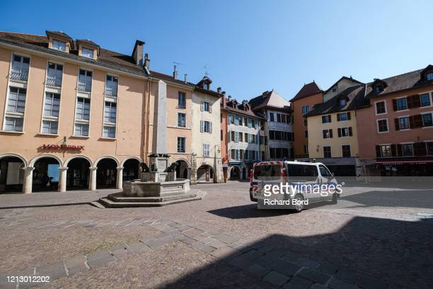 Police car is seen on March 17, 2020 in Annecy, France. Coronavirus has spread to over 156 countries in a matter of weeks, claiming over 6,500 lives...