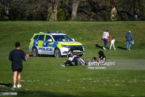 A police car is seen patrolling Greenwich Park on April 5 2020 in London England The Coronavirus pandemic has spread to many countries across the...