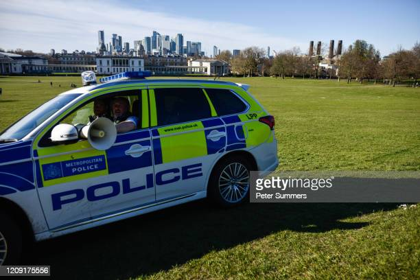 Police car is seen patrolling Greenwich Park on April 5 2020 in London England The Coronavirus pandemic has spread to many countries across the world...