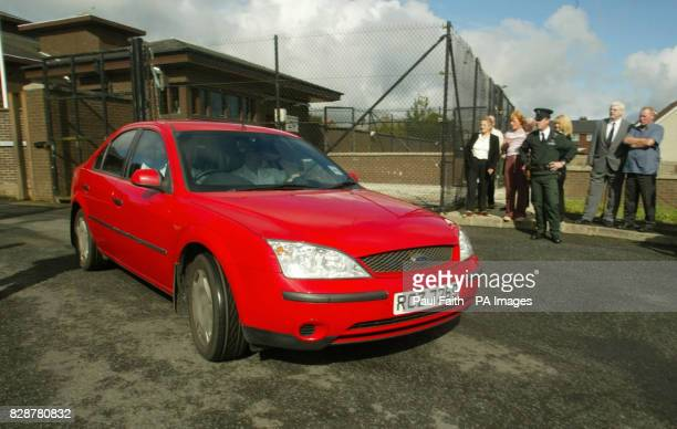 Police car leaves Craigavon Magistrates Court in Co Armagh, after a man appeared charged in connection with the Omagh bomb atrocity. Sean Gerard Hoey...