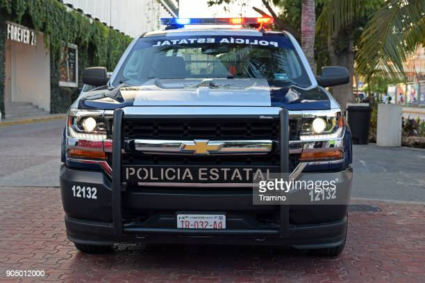 Police car on the street in Mexico