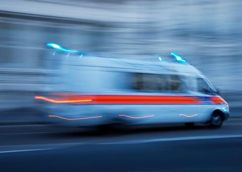 Police Car or Ambulance Speeding, Blurred Motion, London, England 171145323