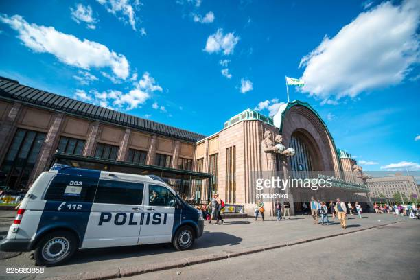 Police car parked at the entrance to Helsinki Central Railway station, Finland