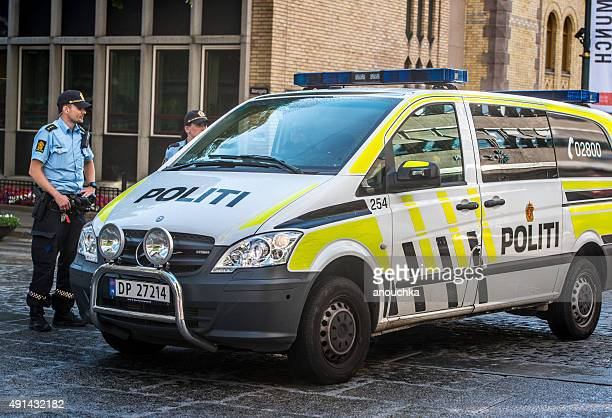Police car parked in Oslo city center