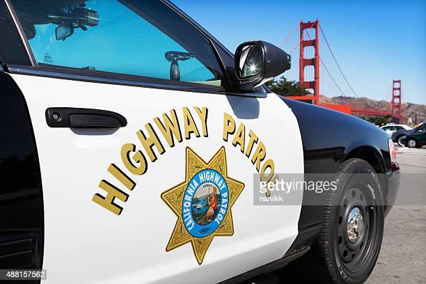 Police car parking at the Golden Gate Bridge