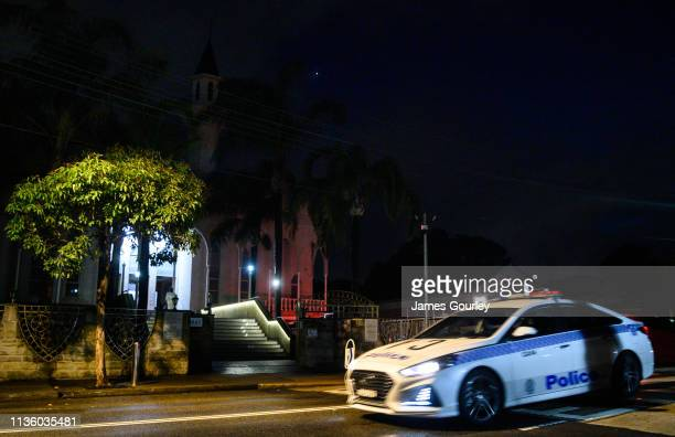 Police Car passes by Lakemba Mosque after morning prayers in the suburb Lakemba on March 16, 2019 in Sydney, Australia. 49 people are confirmed dead,...