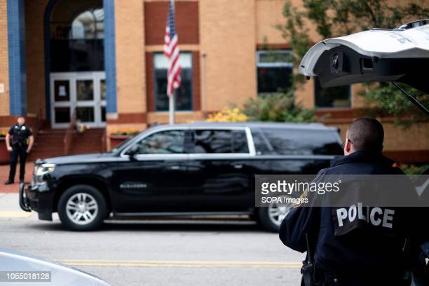 Police car seen in front of JCC After the tragic shooting in Pittsburgh PA at the Tree of Life Community gathers from all different races and...