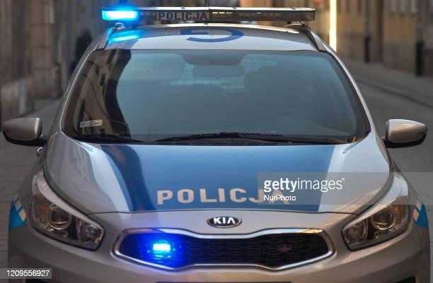 Police car seen in Krakow's Old Town. On Wednesday, April 8 in Krakow, Poland.