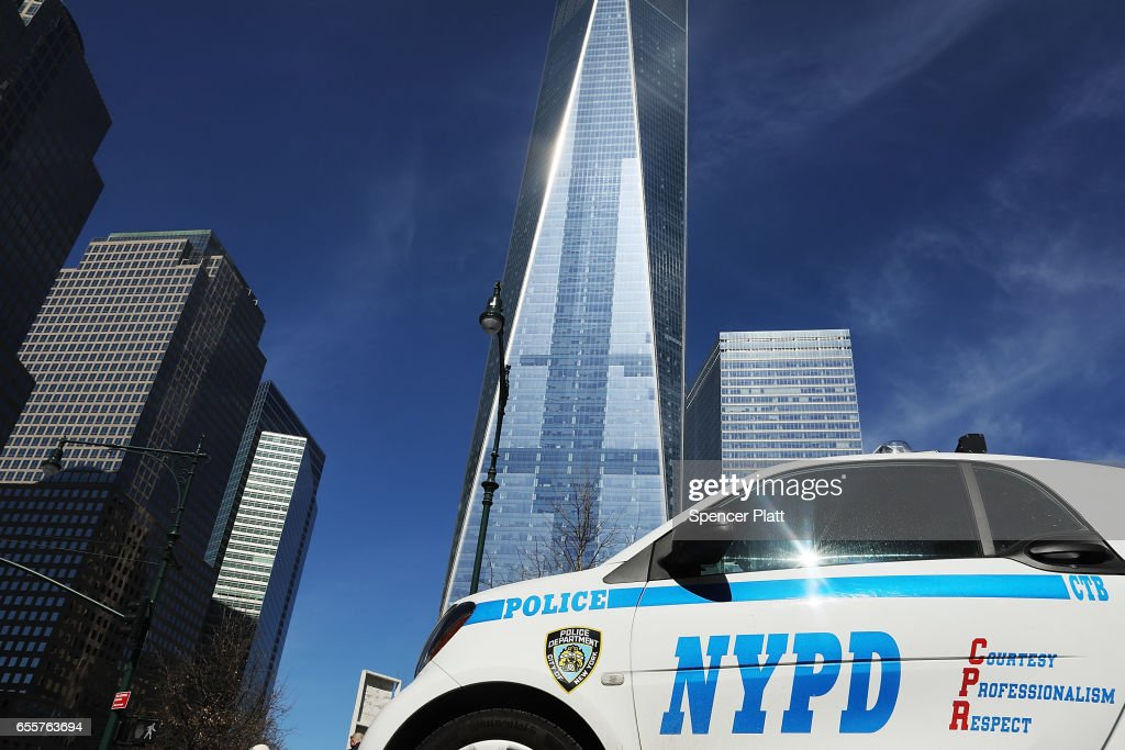 A police car sits in front of One World Trade at ground zero in Manhattan on March 20, 2017 in New York City. Senate Minority Leader Chuck Schumer has been voicing criticism of President Donald Trump's proposed budget that could cut as much as $190 million from New York City efforts to fight terrorism. Following two major terrorist attacks and numerous foiled plots, New York City is considered the nation's prime target for terrorists. The NYPD has stated that it costs $500,000 a day to pay for the nearly 200 police officers in and around Trump Tower on Fifth Ave.