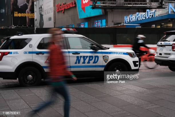A police car sits outside of a Times Square substation on November 05 2019 in New York City Following a turbulent threeyear run as Police...