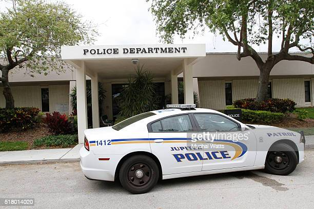 A police car sits outside the police department on March 29 2016 in Jupiter Florida Donald Trump's campaign manager Corey Lewandowski has been...