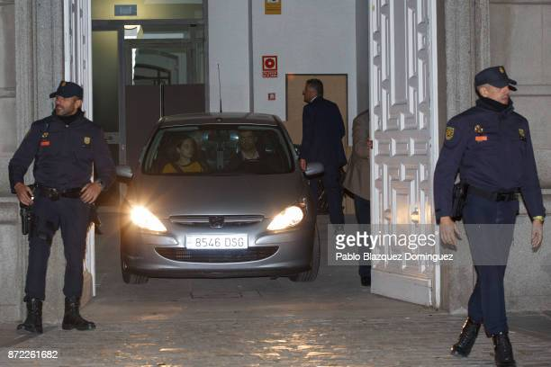 A police car takes Catalan regional parliament speaker Carme Forcadell to prison from Spain's Supreme Court on November 9 2017 in Madrid Spain...