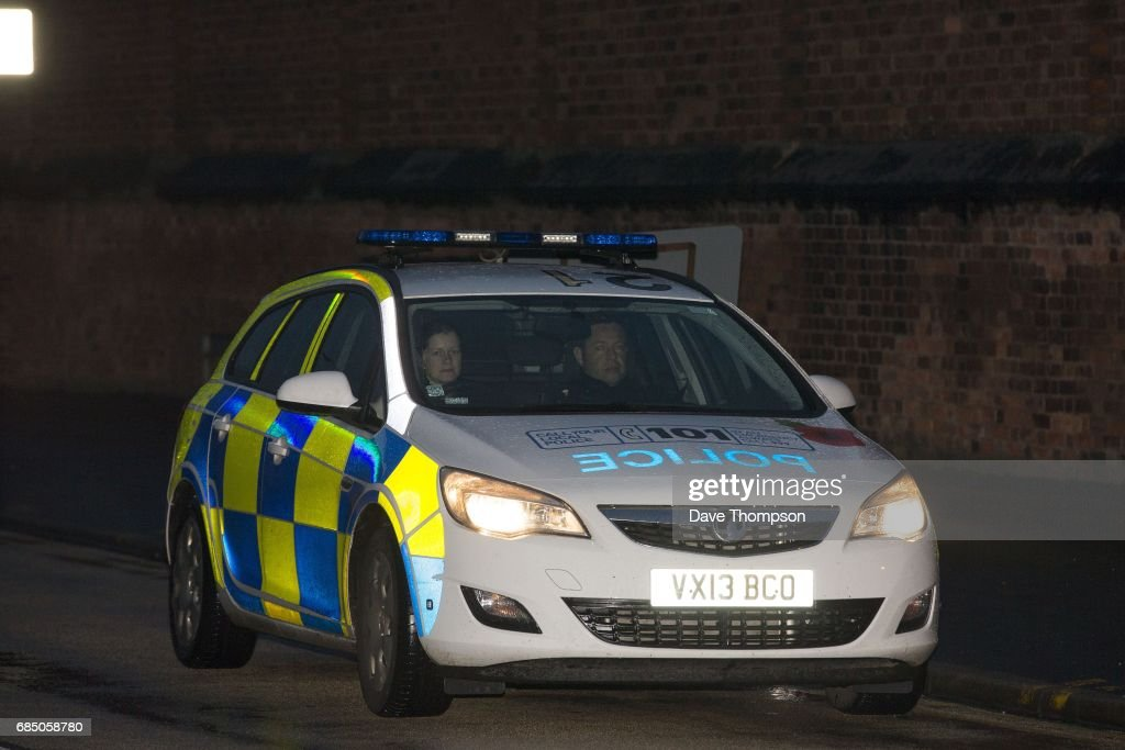 A police car waits outside Stafford Prison on the day that entertainer Rolf Harris was released on May 19, 2017 in Stafford, England. The 87 year old is due to appear at Southwark Crown Court on Monday where he is being tried on four counts of indecent assault.