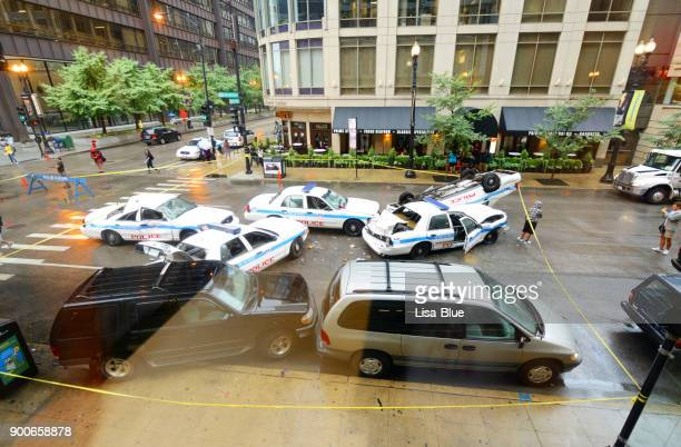 Accident de voitures de police sur Carrefour, Chicago.