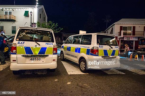 Police cars on St.George's street during New Year Night, Bermuda