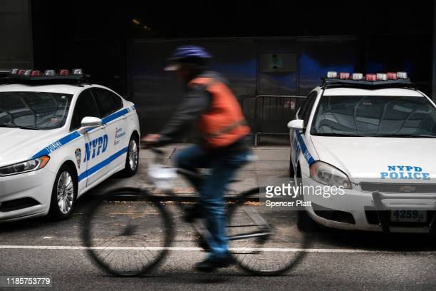 Police cars sit outside of a precinct on November 05 2019 in New York City Following a turbulent threeyear run as Police Commissioner James O'Neill...