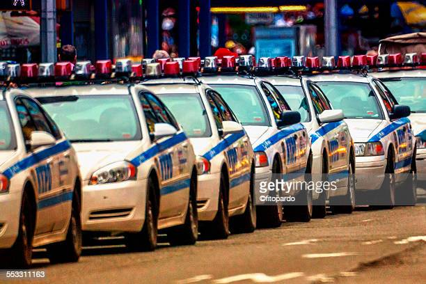 nyc police cars together - new york city police department stock pictures, royalty-free photos & images