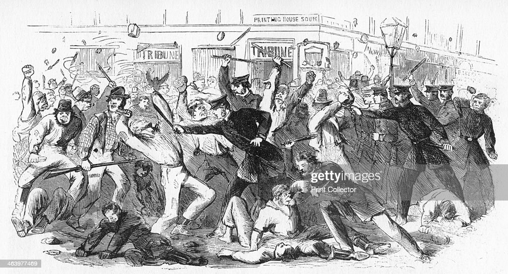'Police Charge Rioters At The Tribune Office', c1860s. : News Photo