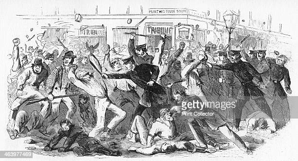 'Police Charge Rioters At The Tribune Office' c1860s In 1863 during the American Civil War opponents of conscription rioted at the offices of the...