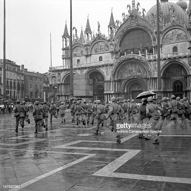 Police charging the student in St Mark Square during the demontration against the Biennale Venice 1968