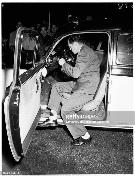 Police chase burglar suspect 1 March 1952 Officer G E Foster George R Acosta 24 years Officer HD PetersonOfficer JL BrownDetective WA Drake Caption...