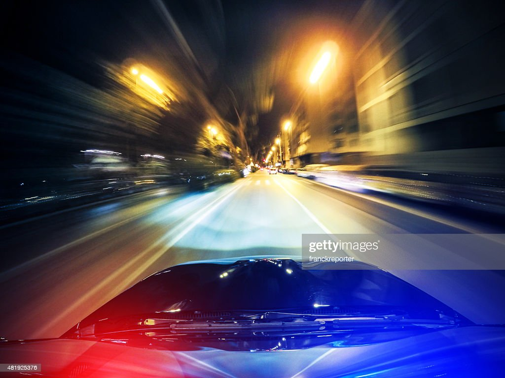 police chasing on the city : Stock Photo