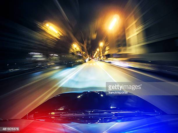 police chasing on the city - illuminate stock photos and pictures