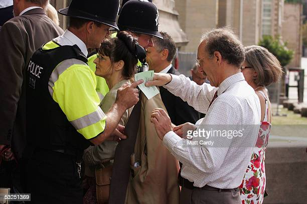 Police check guests arriving for the graduation ceremony that includes Euan Blair son of Prime Minister Tony Blair graduates at Bristol University on...