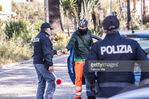 Police check motorists on Easter Monday during the Covid19 emergency on April 13 2020 in Catania Italy Easter celebrations go on throughout Italy...