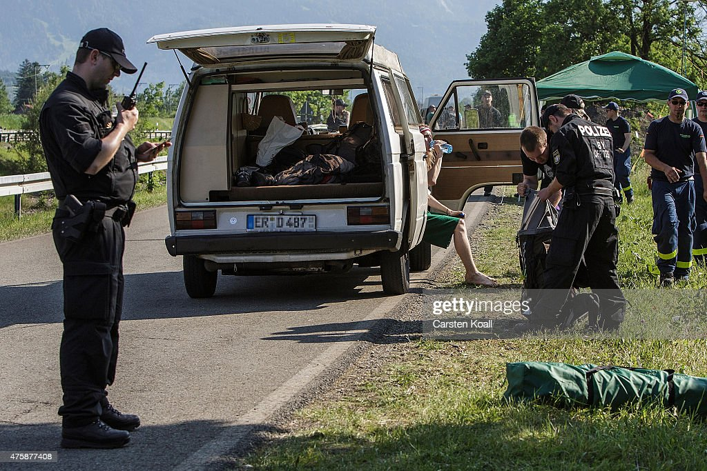 Police check the luggage in a car at a checkpoint ahead of the upcoming summit of G7 nation leaders on June 4, 2015 in Garmisch-Partenkirchen, Germany. G7 leaders will meet at nearby Schloss Elmau on June 7-8 and protesters are planning a variety of gatherings and demonstrations in coming days to voice their opposition.