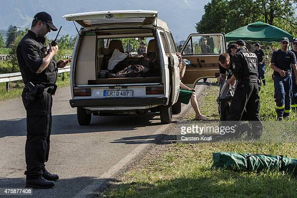 Police check the luggage in a car at a checkpoint ahead of the upcoming summit of G7 nation leaders on June 4 2015 in GarmischPartenkirchen Germany...