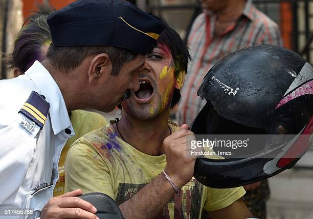 Police checking for Drink and Drive during Holi Celebrations at Shivaji Park on March 24 2016 in Mumbai India Holi is a festival of colors celebrated...