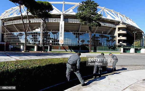 Police checks outside the stadium before the Serie A match between AS Roma and SS Lazio at Stadio Olimpico on November 8 2015 in Rome Italy