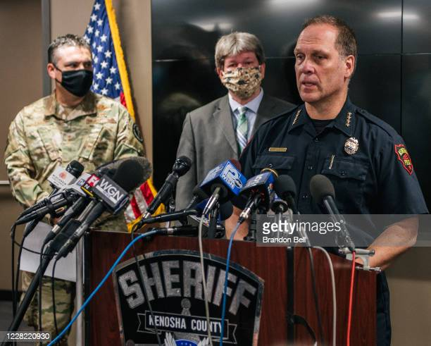 Police Chief Dan Miskinis speaks at a news conference on August 26, 2020 in Kenosha, Wisconsin. Kenosha's mayor, National Guard Sargent, county...