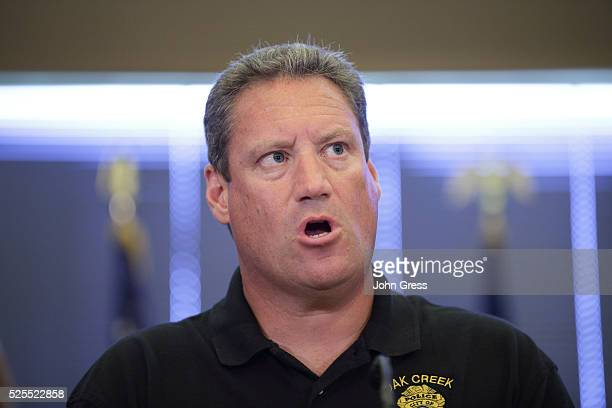 Police Chief John Edwards speaks during a press conference in Oak Creek Wisconsin August 6 2012 A gunman killed six people and critically wounded...
