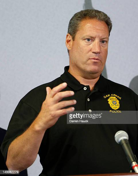 Police Chief John O Edwards for the Oak Creek Police Department speaks at a press conference for the mass shooting at the Sikh Temple of Wisconsin...
