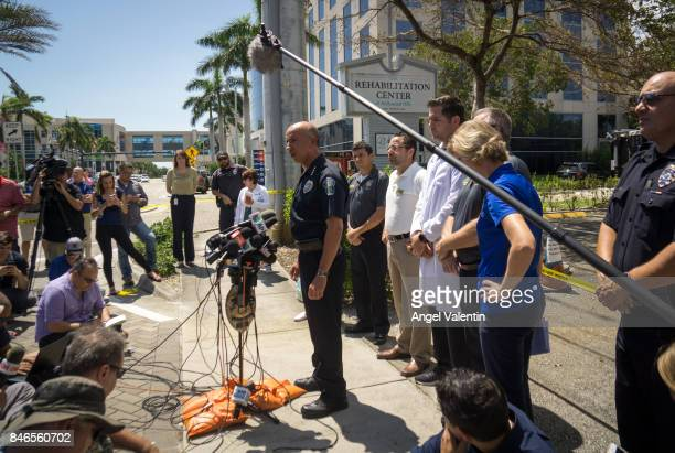 Police Chief Tomas Sanchez addresses the media outside a rehabilitation center in the city where six patients were found dead September 13 2017 in...
