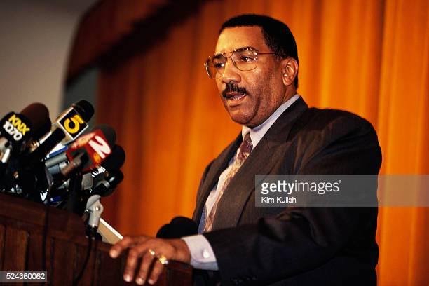 Police Chief Willie Williams speaks at a press conference in Los Angeles concerning the murder of Ennis Cosby son of famed entertainer Bill Cosby