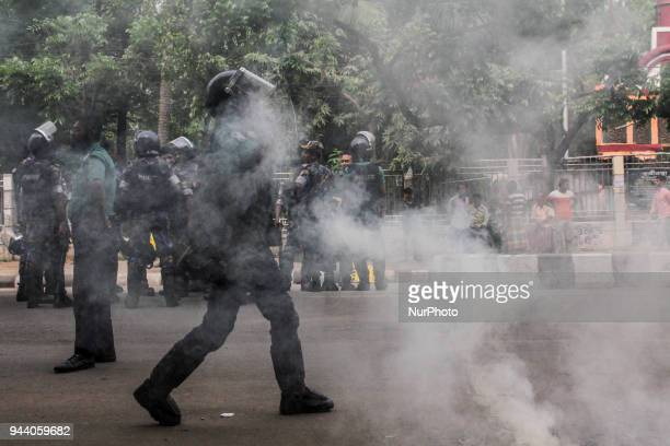 Police clashed with students during a demonstration by the students of Dhaka University in Dhaka Bangladesh on April 9 2018 Students demanding...