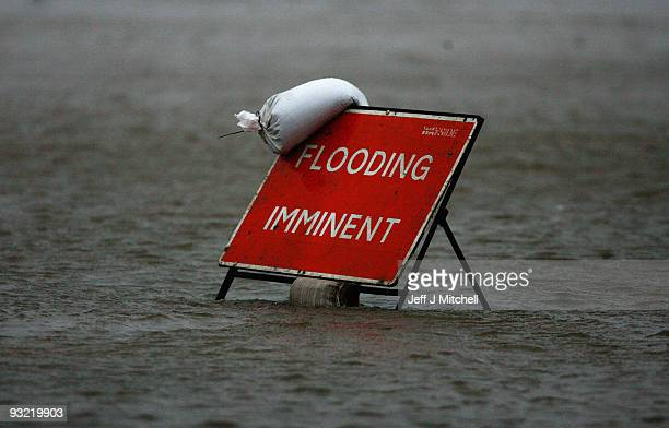 Police close a car park in Dumfries as a high risk of flooding is forecast on November 19, 2009 in Dumfries, Scotland. Much of south west Scotland...