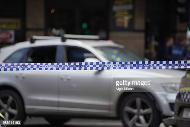 Police close off Flinders Street after a high speed chase comes to an end Melbourne Australia June 2015
