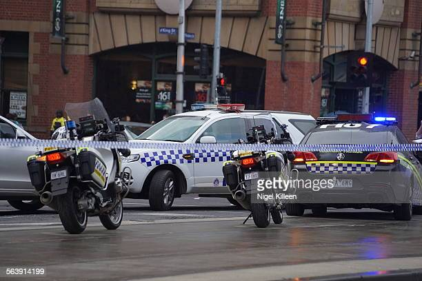 Police close off Flinders street after a high speed chase comes to an end Melbourne Australia 25 June 2015