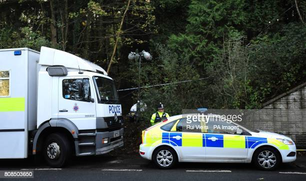 Police close to the location where body of Rebecca Aylward was found in a wooded area just outside Aberkenfig Bridgend south Wales about 9am...