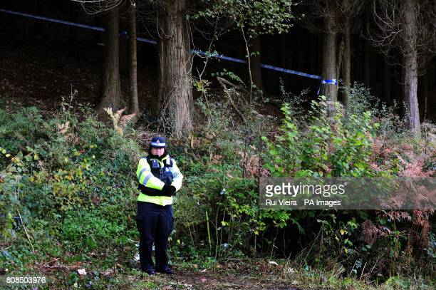 Police close to the location where body of Rebecca Aylward was found in a wooded area just outside Aberkenfig Bridgend south Wales about 9am yesterday