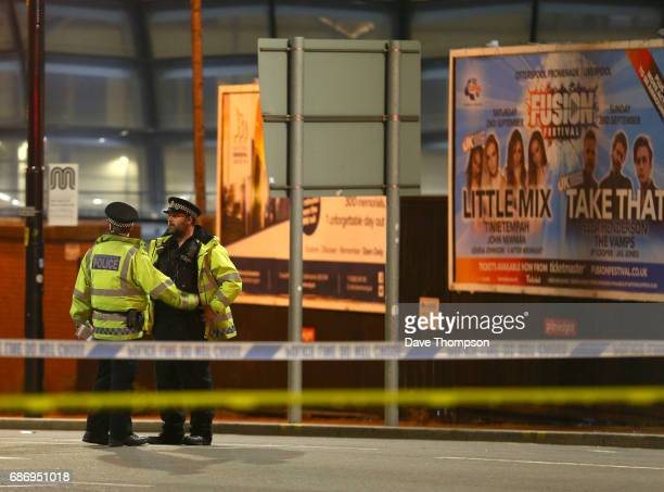 Police close to the Manchester Arena on May 23 2017 in Manchester England An explosion occurred at Manchester Arena as concert goers were leaving the...